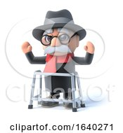 3d Grandpa With Walking Frame Waves His Arms In The Air