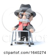 3d Grandpa With His Walking Frame