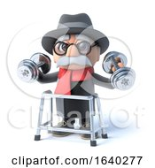 3d Grandpa With Walking Frame Is Lifting Weights