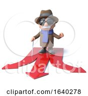 3d Cartoon Blind Man Decides Which Route To Take