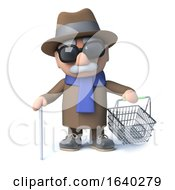 3d Cartoon Blind Man Goes Shopping With His Shopping Basket by Steve Young
