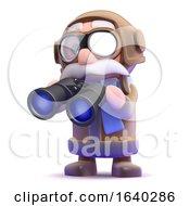 3d Pilot With Binoculars