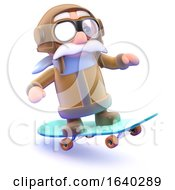 Funny Cartoon 3d Pilot Riding A Skateboard