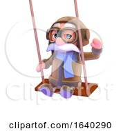 Funny Cartoon 3d Airline Pilot On A Swing