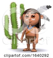 3d Indian Boy By A Cactus by Steve Young