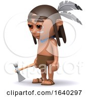 3d Native American Indian With Axe by Steve Young