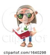 Poster, Art Print Of 3d Hippie Stoner Reads A Good Book