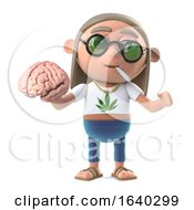 Poster, Art Print Of 3d Funny Cartoon Hippie Stoner Character Holds A Human Brain