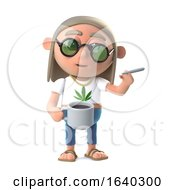 Poster, Art Print Of 3d Hippie Stoner Has A Coffee And A Smoke