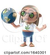 Poster, Art Print Of 3d Hippy Stoner Studies A Globe Of The Earth