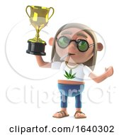 Poster, Art Print Of 3d Hippie Stoner Wins The Gold Cup Trophy