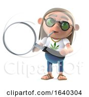 3d Hippie Stoner Using A Magnifying Glass