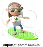 Poster, Art Print Of 3d Funny Cartoon Hippie Stoner Character Goes Surfing On A Surfboard
