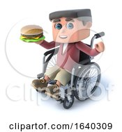 3d Boy In Wheel Chaird Eating Burger by Steve Young