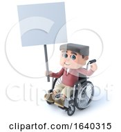 3d Boy In Wheelchair With Placard