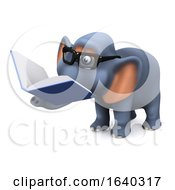 3d Elephant Reading A Book by Steve Young