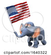 Funny Cartoon 3d Elephant Character Carrying US Stars And Stripes Flag by Steve Young