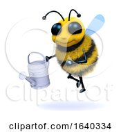 Poster, Art Print Of Funny Cartoon 3d Honey Bee Character Holding A Watering Can