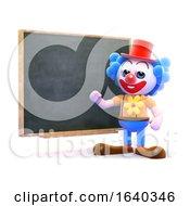 3d Clown Teaches At The Blackboard