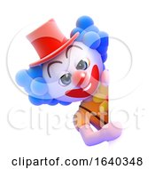 3d Clown Behind A Blank Page