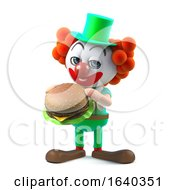 3d Funny Cartoon Crazy Clown Character Eats A Beefburger by Steve Young