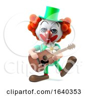 3d Funny Cartoon Crazy Clown Character Plays His Acoustic Guitar by Steve Young