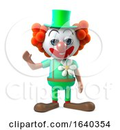 3d Funny Cartoon Clown Character Waves A Cheerful Greeting