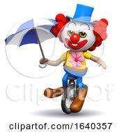 3d Clown Unicycles Under Umbrellaq