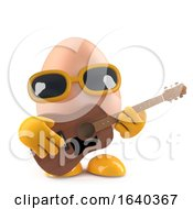 Poster, Art Print Of 3d Egg Playing An Acoustic Guitar