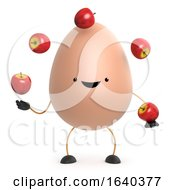 Poster, Art Print Of 3d Cute Toy Egg Juggles Some Apples