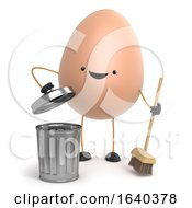 Poster, Art Print Of 3d Cute Toy Egg Is Cleaning Up With A Broom