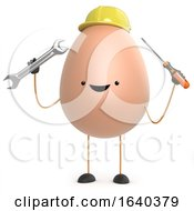 Poster, Art Print Of 3d Cute Toy Egg Is A Builder Now