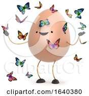 Poster, Art Print Of 3d Cute Toy Egg Surrounded By Beautiful Butterflies