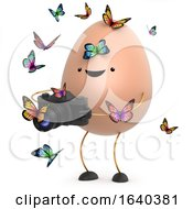 Poster, Art Print Of 3d Cute Toy Egg Tries To Photograph Some Butterflies