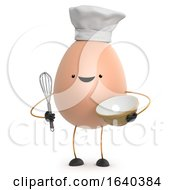 3d Cute Toy Egg Chef Holding A Whisk And Mixing Bowl