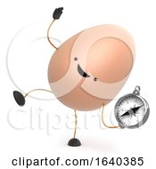 Poster, Art Print Of 3d Cute Toy Egg Dancing With A Compass