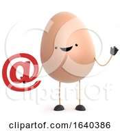 3d Cute Cartoon Egg Character Holding An Email Address Symbol