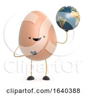Poster, Art Print Of 3d Cute Toy Egg Has A Globe Of The Earth