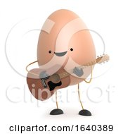 3d Cute Egg Man Wants To Be A Folk Singer With His Guitar