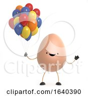 Poster, Art Print Of 3d Cute Toy Egg Has Some Colorful Balloons