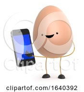 Poster, Art Print Of 3d Cute Toy Egg With His New Smartphone Tablet