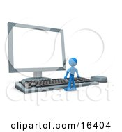 Tiny Blue Person Standing In Front Of A Computer Keyboard And Looking Up At A Flat Screen Lcd Monitor Screen Clipart Illustration Graphic