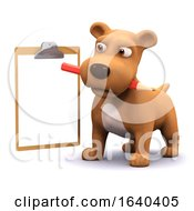 Poster, Art Print Of Funny Cartoon 3d Puppy Dog Holding A Pencil And Clipboard