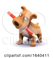 Poster, Art Print Of 3d Puppy Dog With Pencil In Mouth