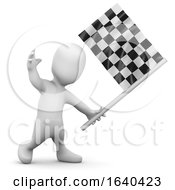 3d Little Person Checkered Flag