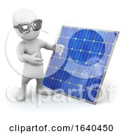Cartoon 3d Man Standing Next To A Solar Panel