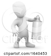 3d Little Man With A Spraycan Of Paint