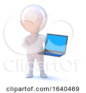 3d Little Man With A Laptop Pc