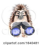 3d Hedgehog Looks Through Binoculars by Steve Young