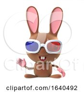 Poster, Art Print Of 3d Cute Cartoon Bunny Rabbit Wearing 3d Glasses And Waving Hello